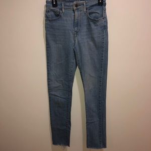 Levi's 721 High Rise Skinny Jeans Sz 28 Raw Hem